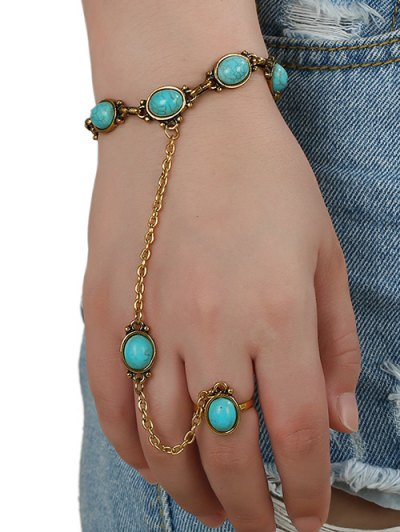 Faux Turquoise Bracelet with Ring - GOLDEN  Mobile