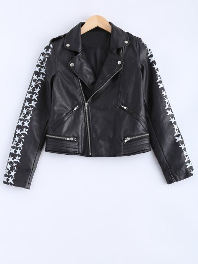 Lapel Collar Letter Print PU Leather Jacket - Black