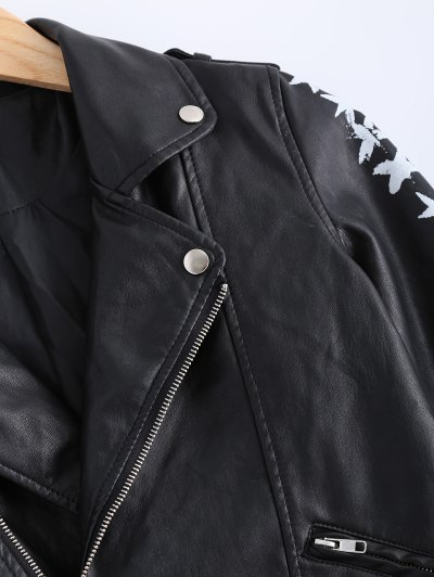 Lapel Collar Letter Print PU Leather Jacket - BLACK S Mobile