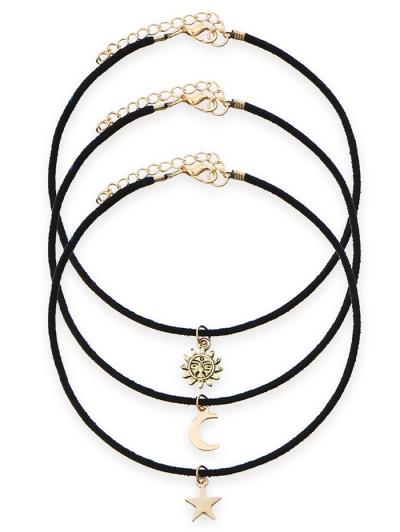 Velvet Sun Moon Star Choker Necklaces