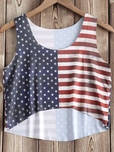 American Flag Print Tank Top