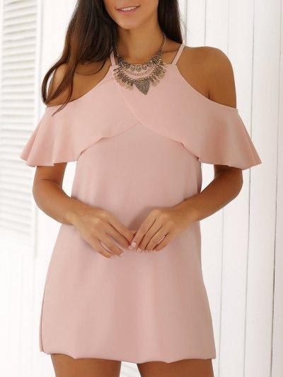 Spaghetti Straps Cold Shoulder Mini Dress - Pink