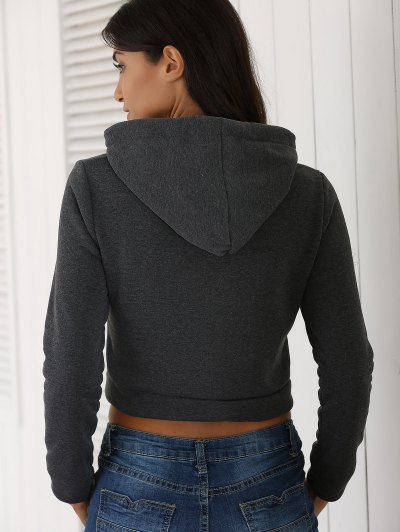 Cropped Pure Color Long Sleeve Hoodie - DEEP GRAY L Mobile