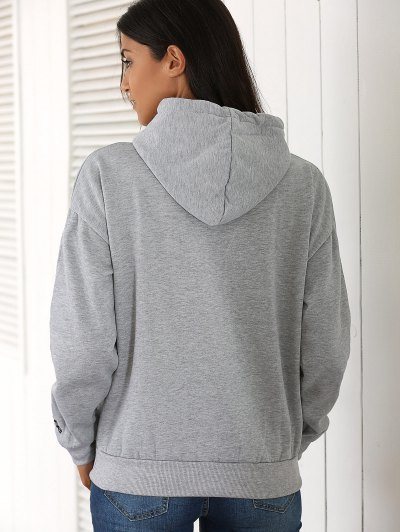 Letter Pocket Long Sleeve Fleece Hoodie - GRAY ONE SIZE Mobile