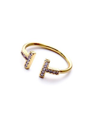 Mini Rhinestone Cut Out Ring - Golden