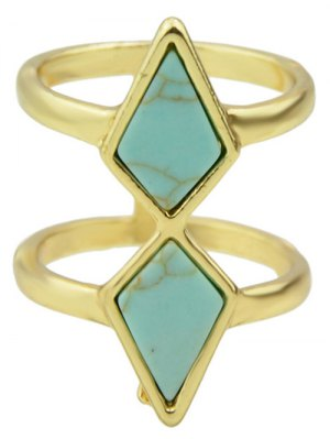 Multilayered Faux Rammel Geometric Ring - Blue