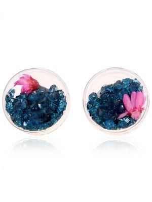 Flower Rhinestone Stud Earrings - Peacock Blue