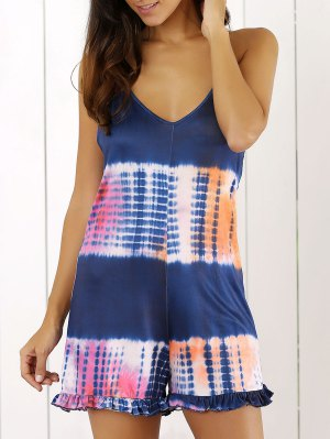 Tie Dye Print Cami Loose Romper - Blue
