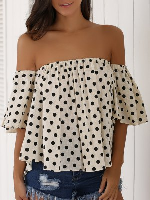Off The Shoulder Polka Dot Blouse - Apricot