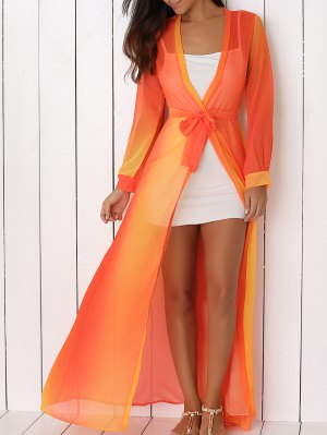 Hit Color Plunging Neck Chiffon Maxi Dress - Sweet Orange