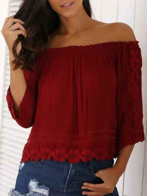 Lacework 3/4 Sleeve Cropped Blouse - Red
