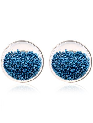 Transparent Beads Stud Earrings - Lake Blue