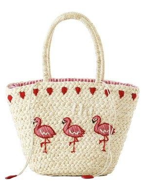 Brodé Flamingo Paille Sac Fourre-tout - Blanc Cassé