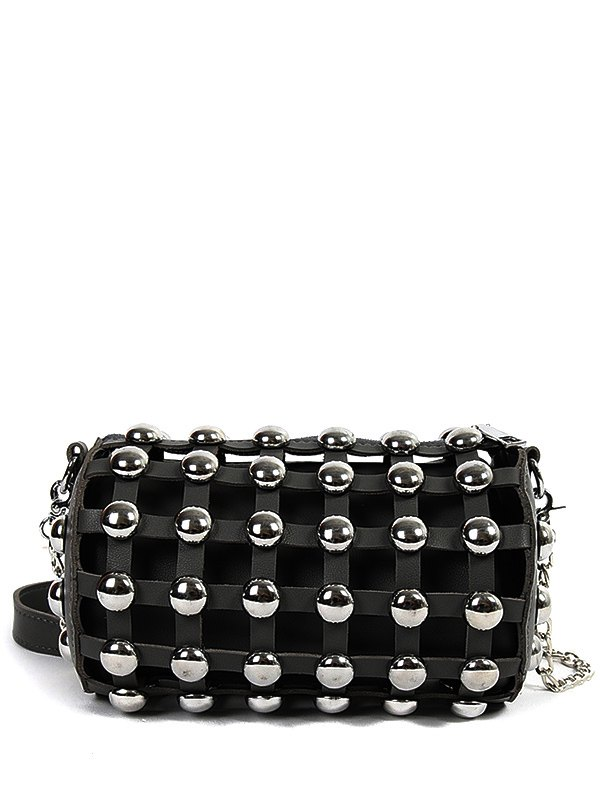 Cylinder Shape Metal Rivets Crossbody Bag