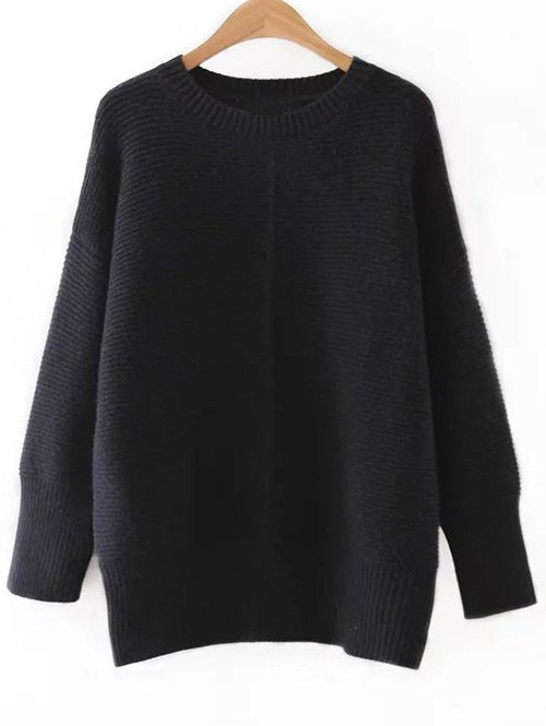 Round Neck Drop Shoulder Sleeves Sweater