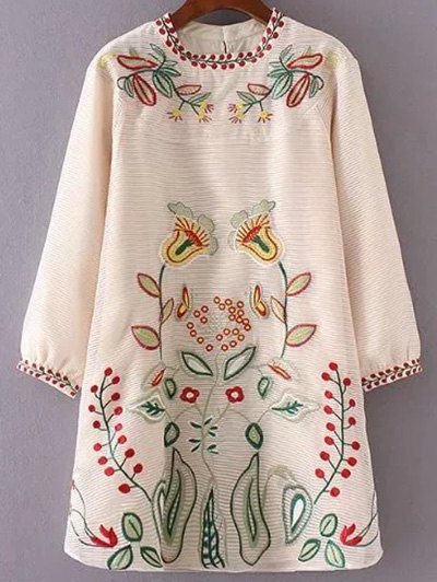 Stand Neck Embroidered A-Line Dress
