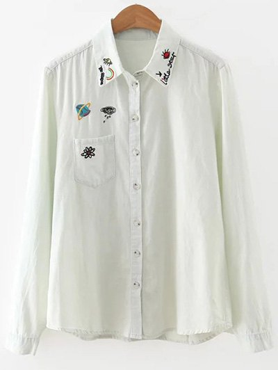 One Pocket Embroidered Denim Overshirt