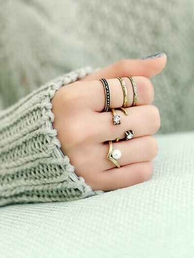 Faux Pearl Rhinestone Caged Open Rings