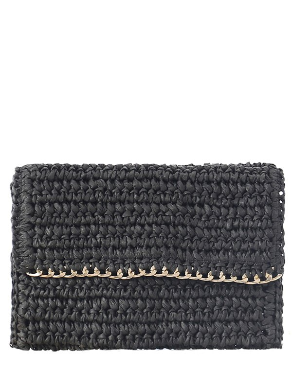 Weaving Straw Chain-Trimmed Clutch BagAccessories<br><br><br>Color: BLACK