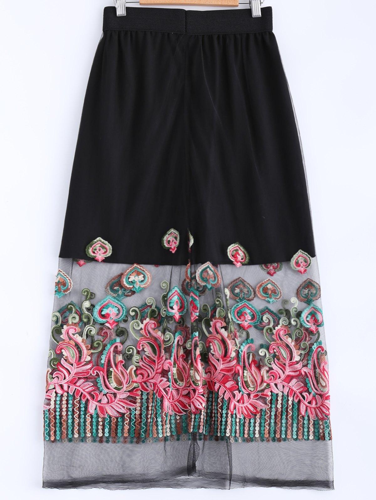 Elastic Waist Voile Spliced Embroidery Skirt
