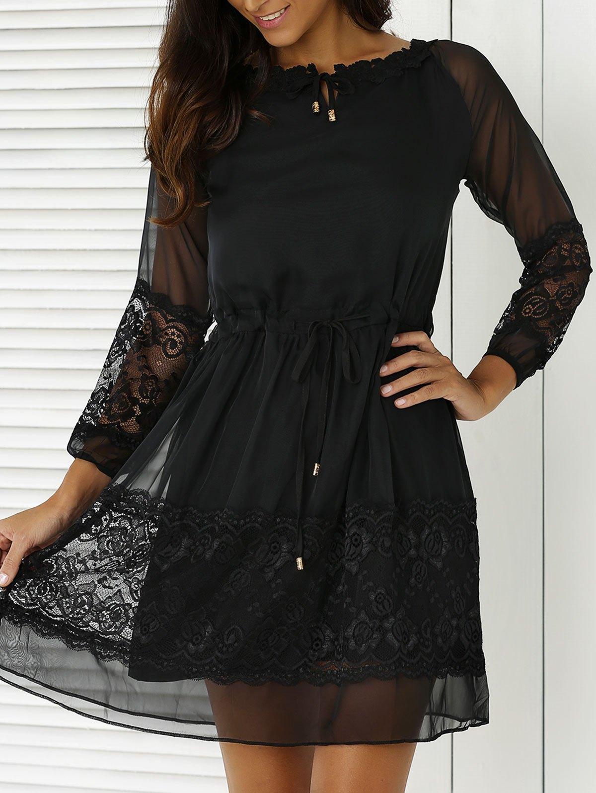 Round Neck 3/4 Sleeve Lace Splice Black Dress