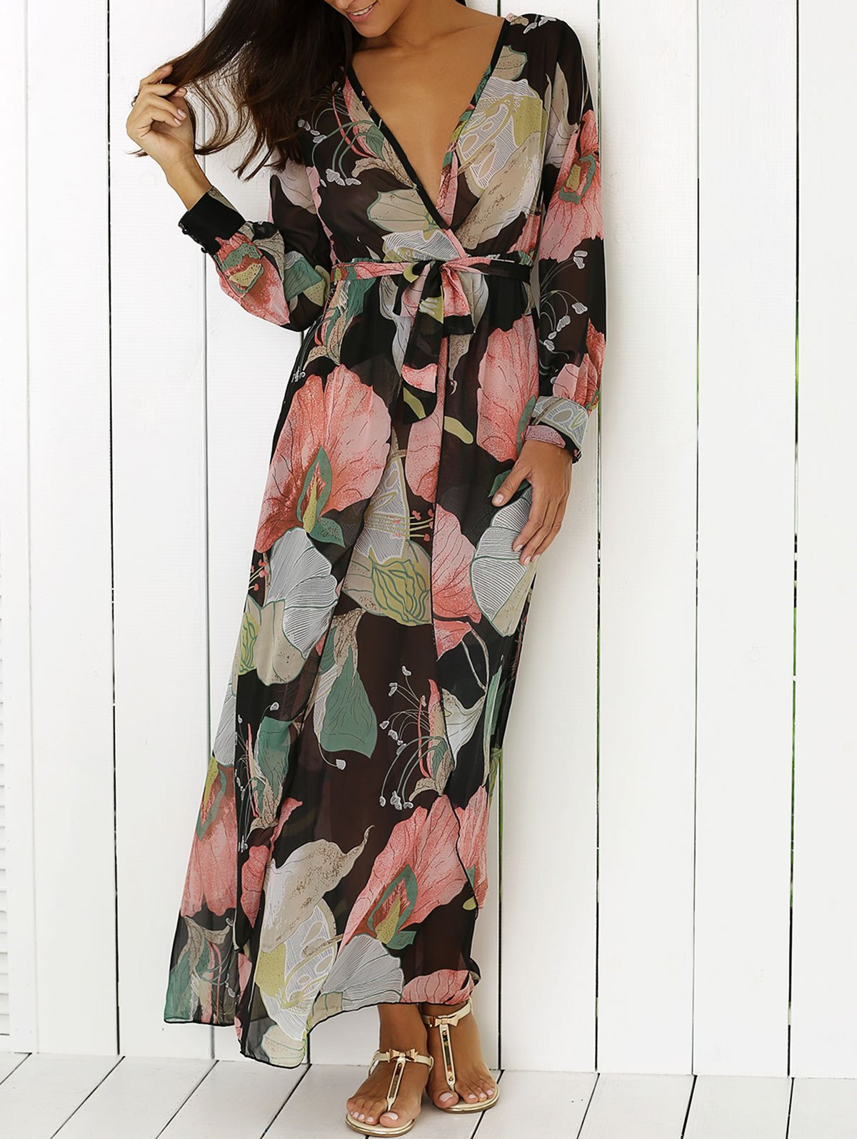 Plunging Neck Long Sleeve Full Floral Printed Maxi Dress