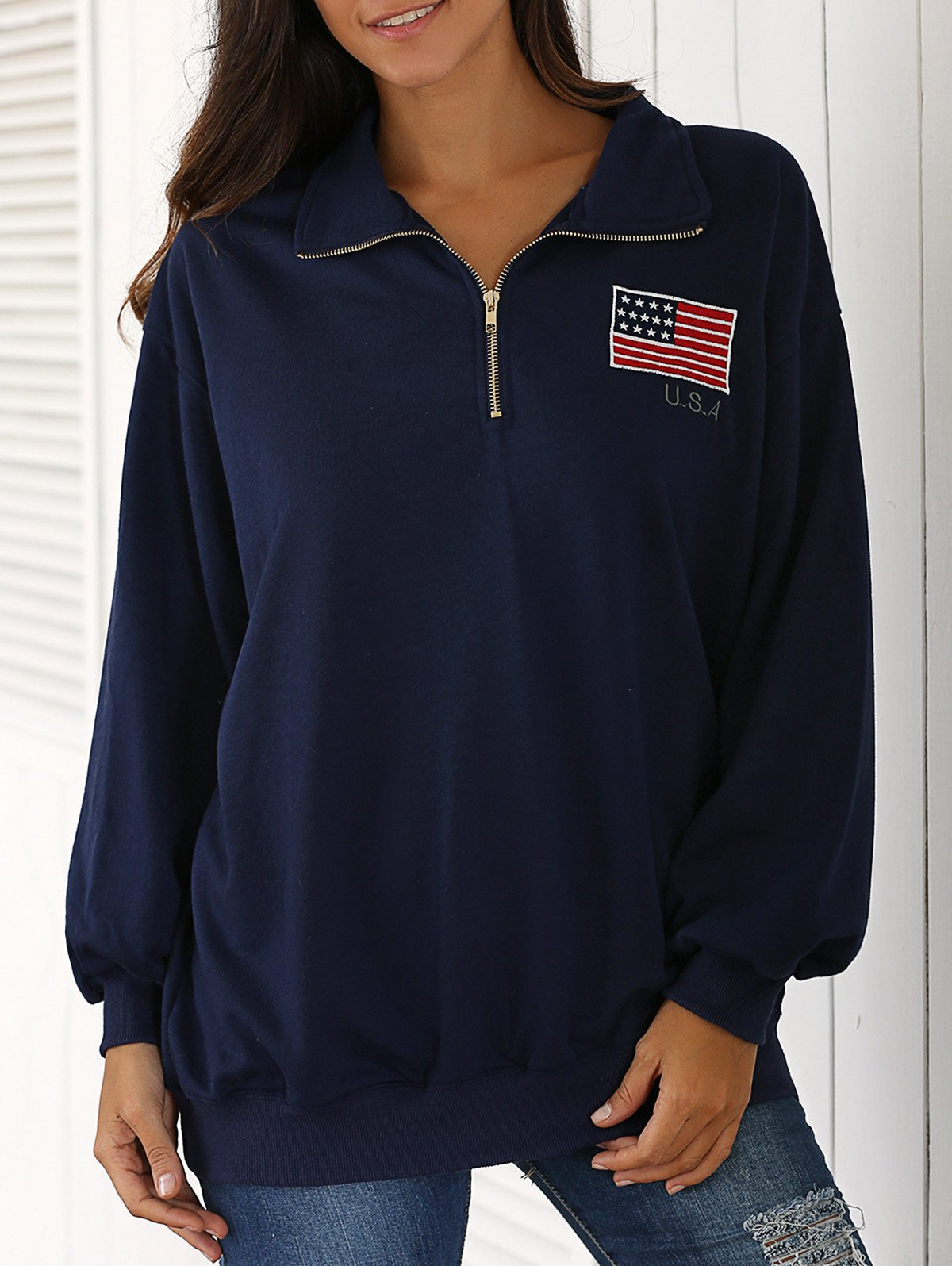 Stand Neck Long Sleeve Flag Embroidered Sweatshirt