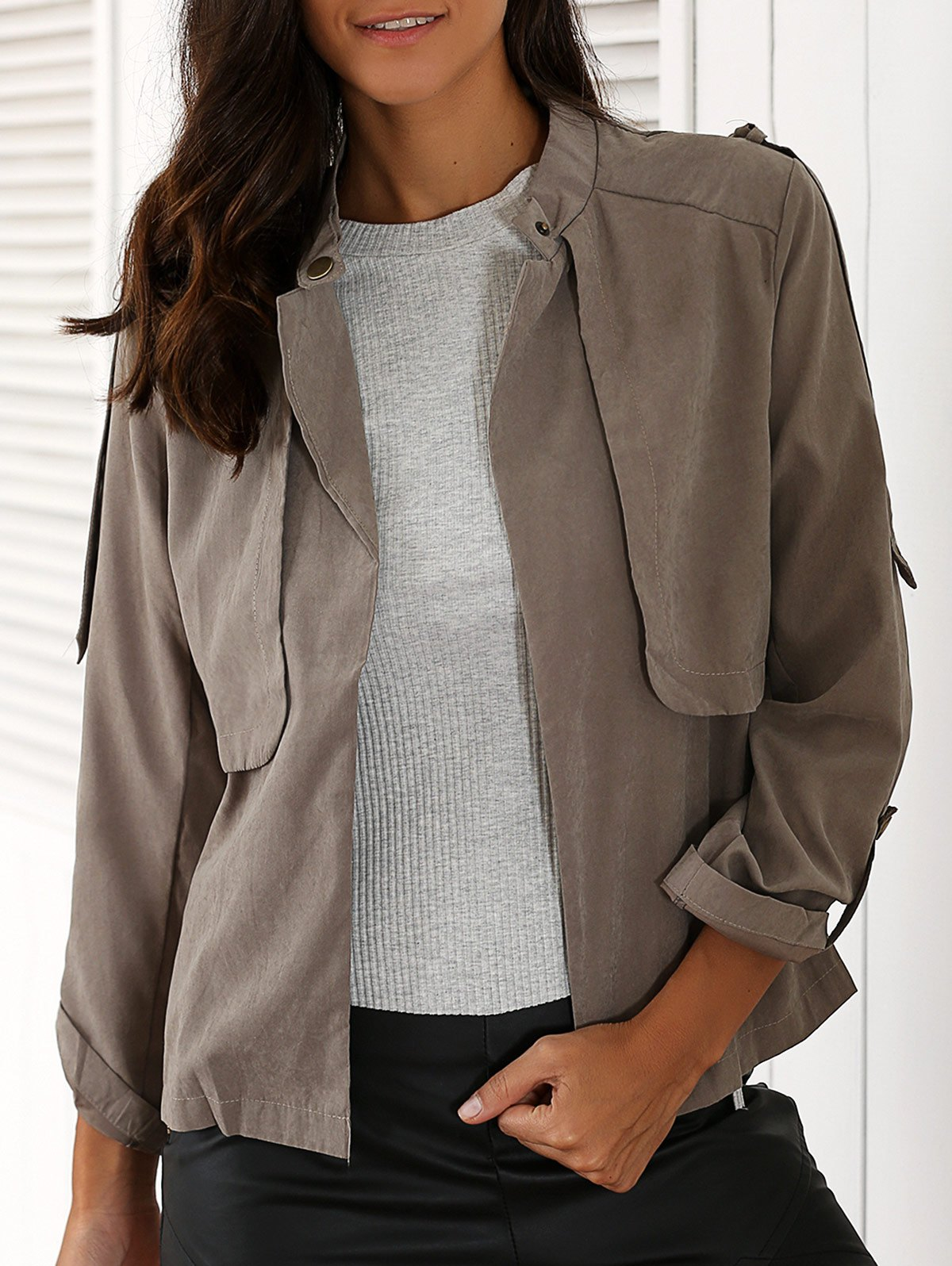 Stand Neck Long Sleeve Gray Trench Coat