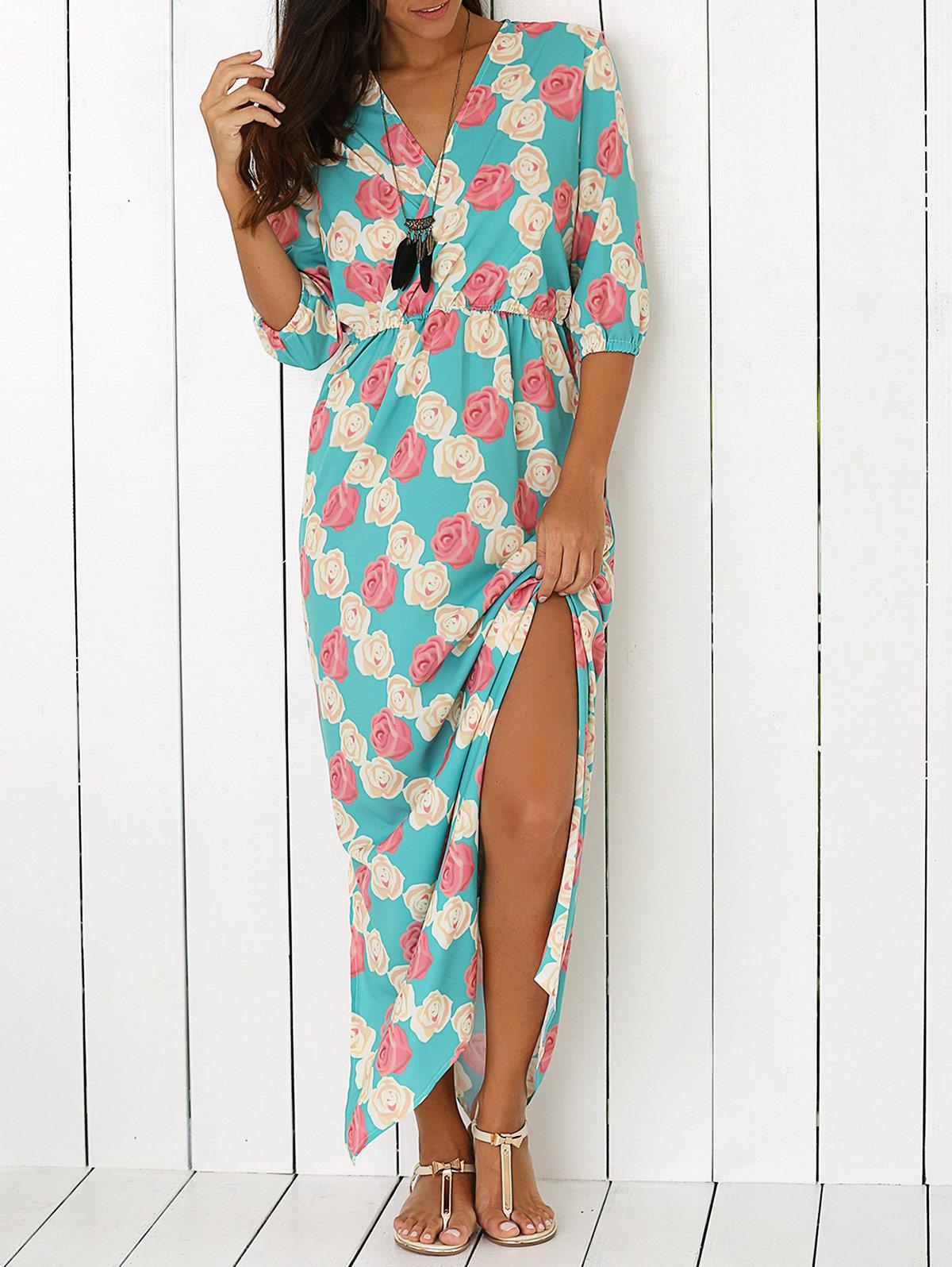 Printed V Neck Side Slit Maxi Dress 191950501