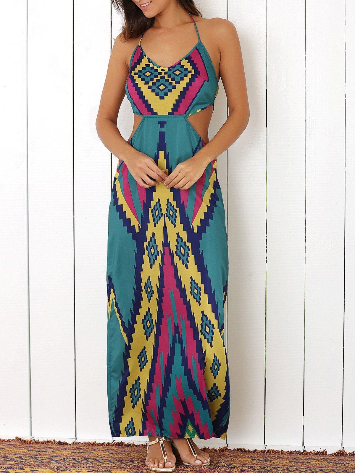 Halter Colored Argyle Pattern Maxi Dress