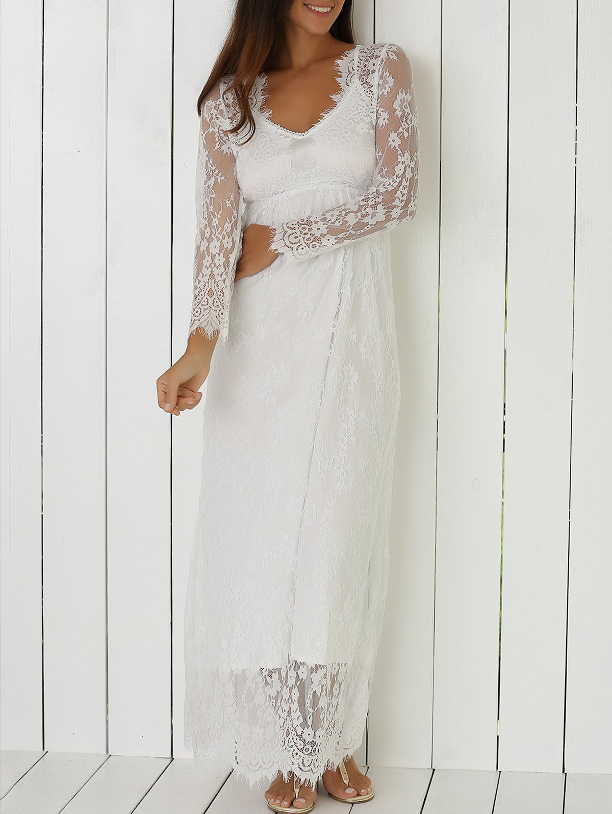 Plunging Neck Long Sleeve See-Through Lace Dress