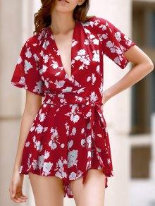 Floral Plunging Neckline Surplice Romper - Red M