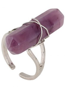Faux Gemstone Open Ring - Purple