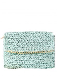 Weaving Straw Chain-Trimmed Clutch Bag