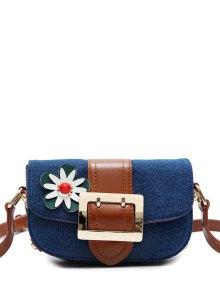 Denim Floral Buckle Crossbody Bag - Deep Blue