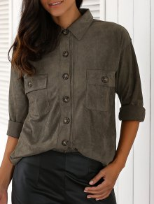 Double Pocket Turn Down Collar Loose Shirt