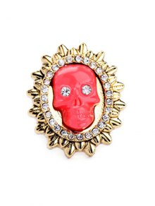 Rhinestone Sun Skull Ring