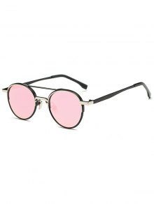 Metal Crossbar Mirrored Oval Sunglasses