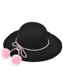 Pompon Lace-Up Felt Jazz Hat