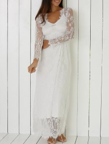 See-Through Lace Plongeant Neck Dress - Blanc