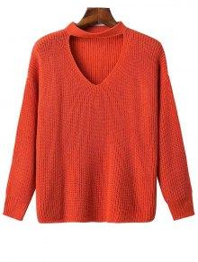 Oversized Drop Shoulder Choker Sweater