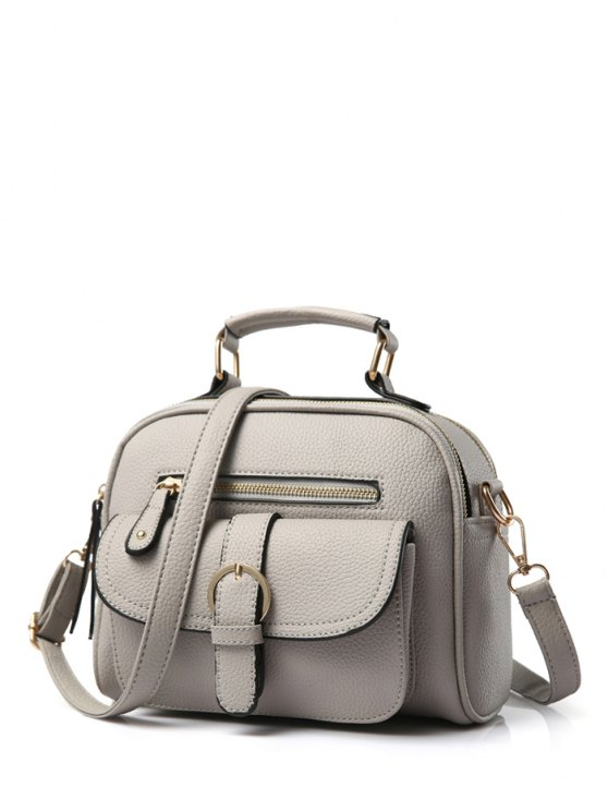 women's Buckle PU Leather Zippers Crossbody Bag - GRAY