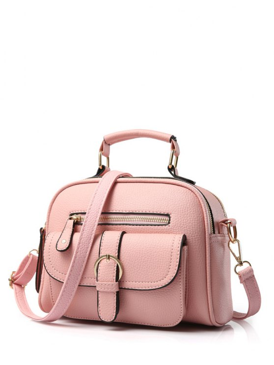 Buckle PU Leather Zippers Crossbody Bag - Pink