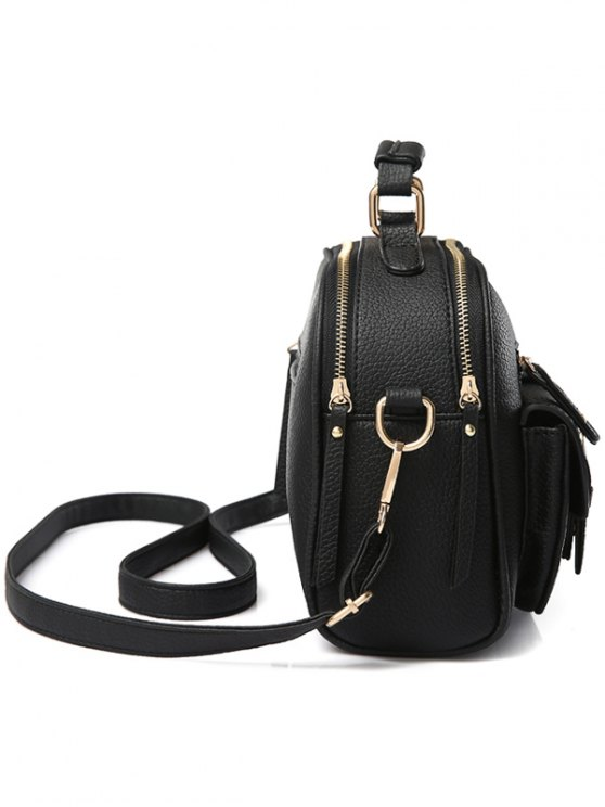 Buckle PU Leather Zippers Crossbody Bag - PINK  Mobile