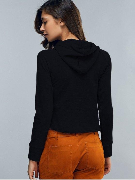 Cropped Hooded Long Sleeve Pullover Hoodie - BLACK S Mobile