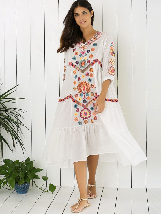 Embroidered Tiered Midi Dress - WHITE M Mobile