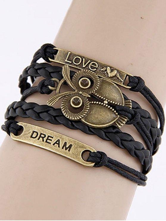 Owl Braided Bracelet - BLACK  Mobile