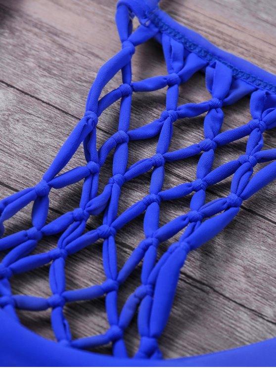 Cami Strappy Fishnet Bikini Set - BLUE S Mobile