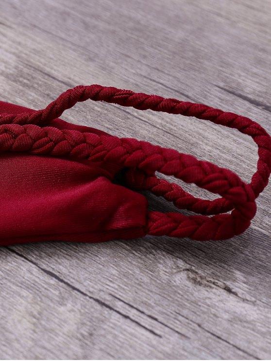 Double-Strap Braided Bikini Set - WINE RED S Mobile