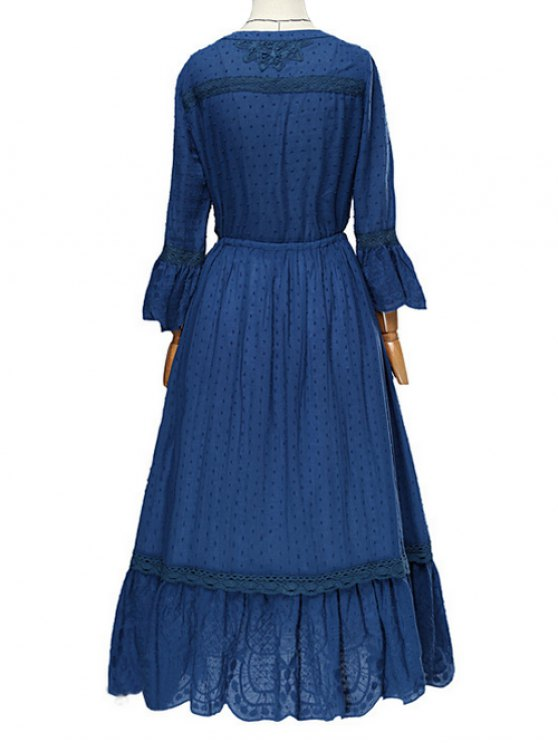 Frayed Lace Inset Midi Dress - BLUE L Mobile